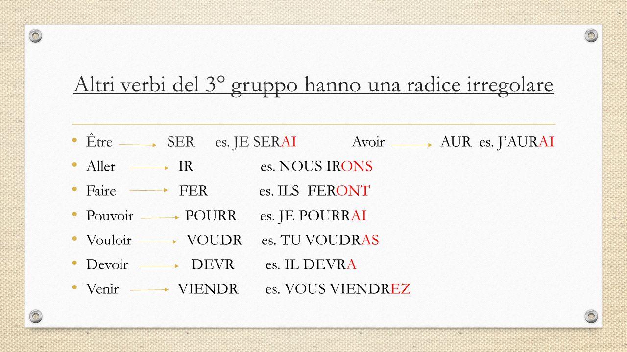 Altri verbi del 3° gruppo hanno una radice irregolare Être SER es. JE SERAI Avoir AUR es. J'AURAI Aller IR es. NOUS IRONS Faire FER es. ILS FERONT Pou