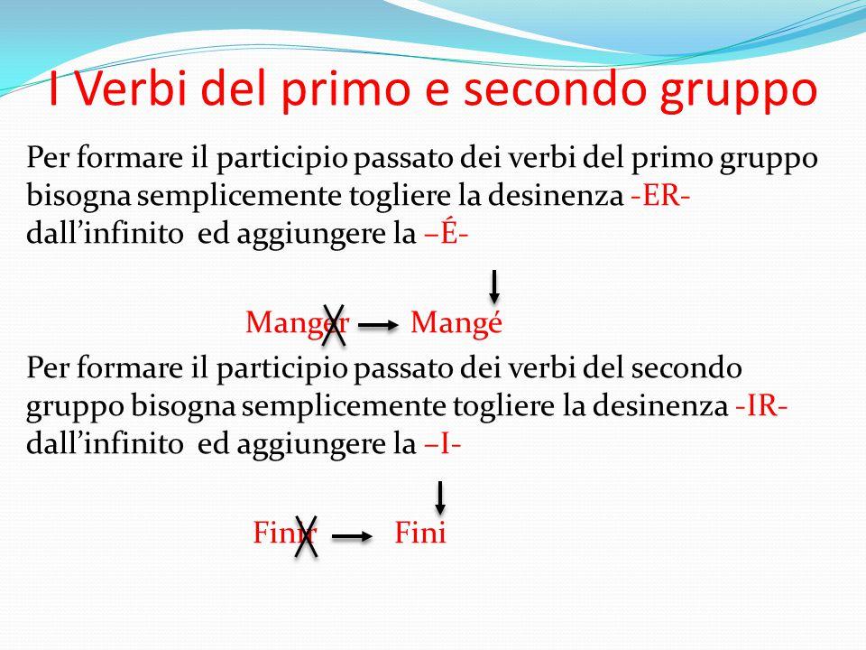 I Verbi del primo e secondo gruppo Per formare il participio passato dei verbi del primo gruppo bisogna semplicemente togliere la desinenza -ER- dall'