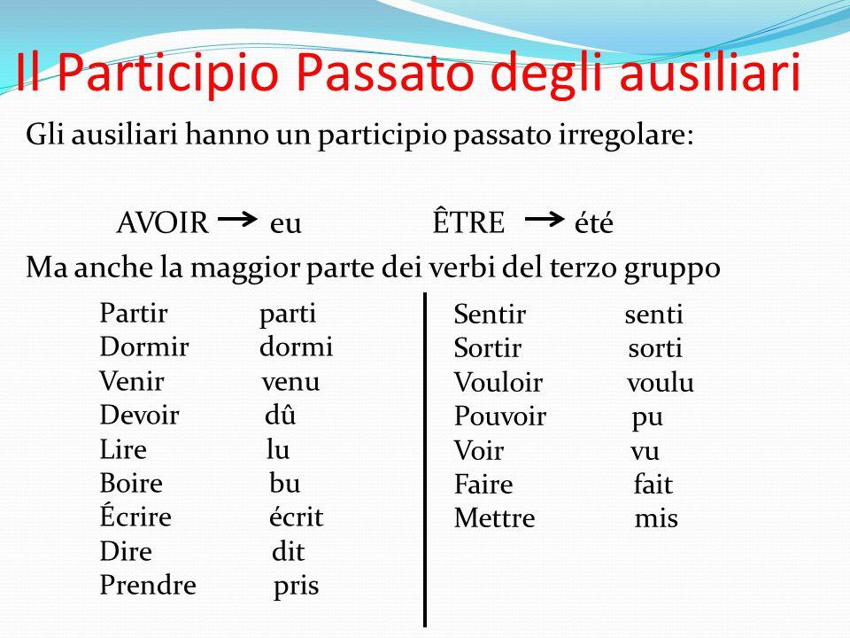 Il Participio Passato degli ausiliari Gli ausiliari hanno un participio passato irregolare: AVOIR eu ÊTRE été Ma anche la maggior parte dei verbi del