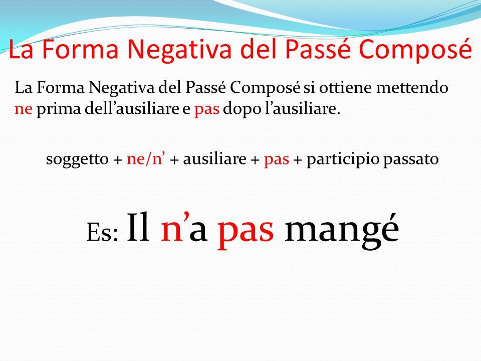 La Forma Negativa del Passé Composé La Forma Negativa del Passé Composé si ottiene mettendo ne prima dell'ausiliare e pas dopo l'ausiliare. soggetto +