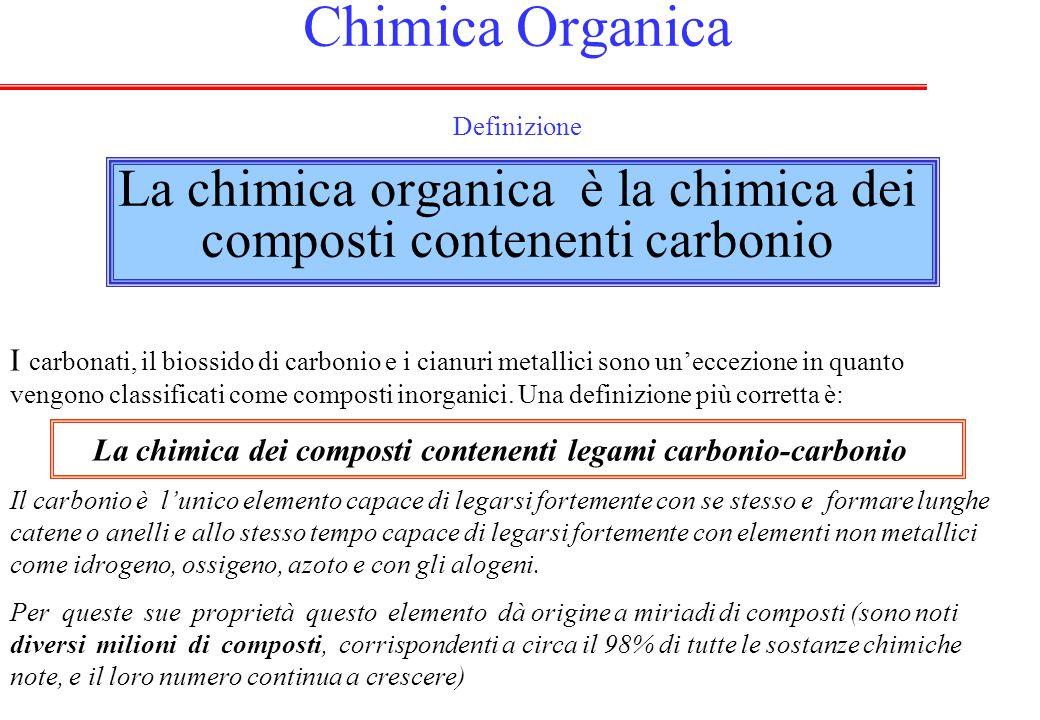 Chimica Organica Definizione La chimica organica è la chimica dei composti contenenti carbonio I carbonati, il biossido di carbonio e i cianuri metallici sono un'eccezione in quanto vengono classificati come composti inorganici.