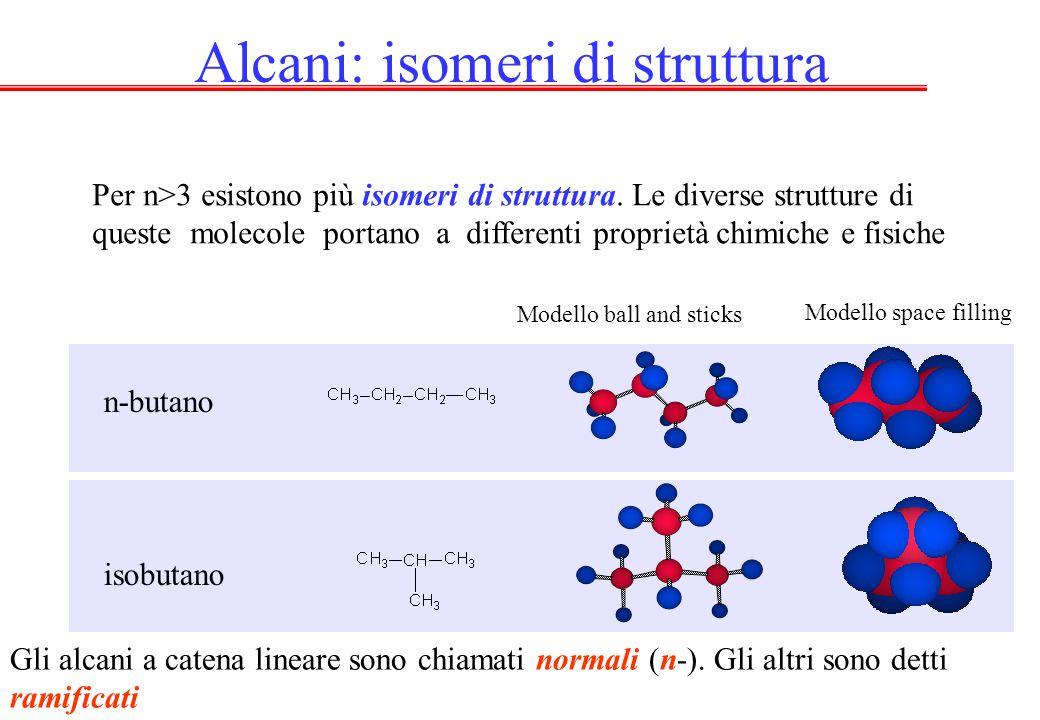 Alcani: isomeri di struttura Per n>3 esistono più isomeri di struttura. Le diverse strutture di queste molecole portano a differenti proprietà chimich