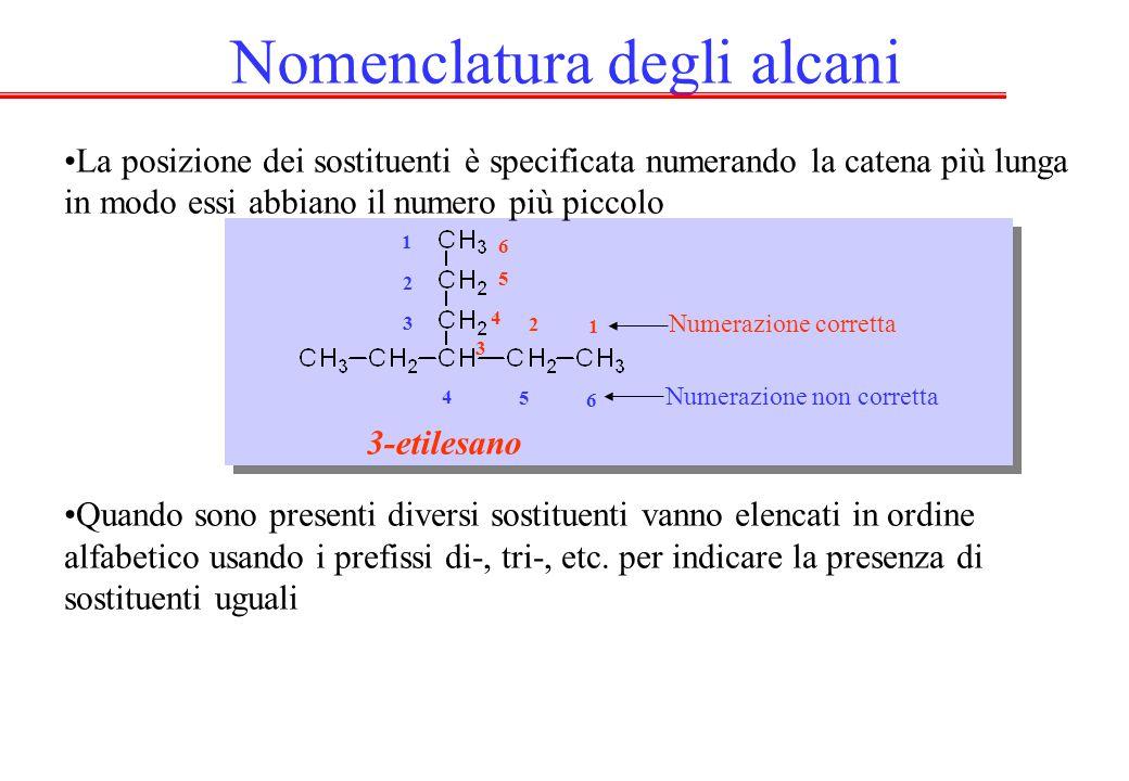 Nomenclatura degli alcani La posizione dei sostituenti è specificata numerando la catena più lunga in modo essi abbiano il numero più piccolo Quando sono presenti diversi sostituenti vanno elencati in ordine alfabetico usando i prefissi di-, tri-, etc.