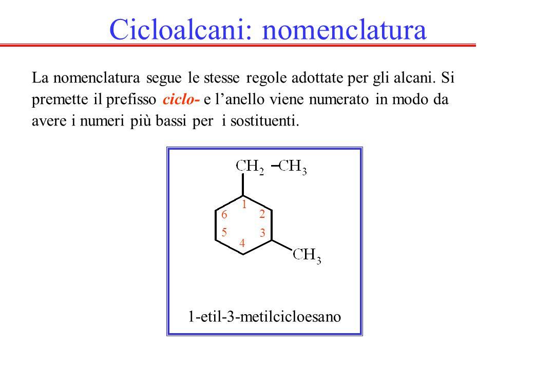 La nomenclatura segue le stesse regole adottate per gli alcani. Si premette il prefisso ciclo- e l'anello viene numerato in modo da avere i numeri più