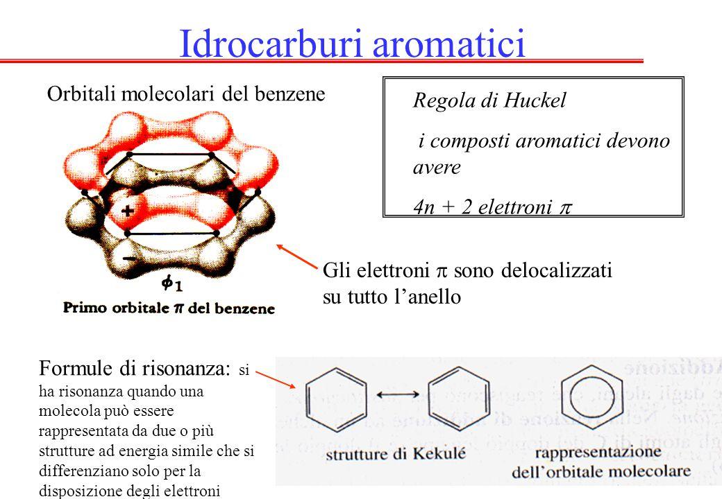 Idrocarburi aromatici Orbitali molecolari del benzene Regola di Huckel i composti aromatici devono avere 4n + 2 elettroni  Gli elettroni  sono delocalizzati su tutto l'anello Formule di risonanza: si ha risonanza quando una molecola può essere rappresentata da due o più strutture ad energia simile che si differenziano solo per la disposizione degli elettroni