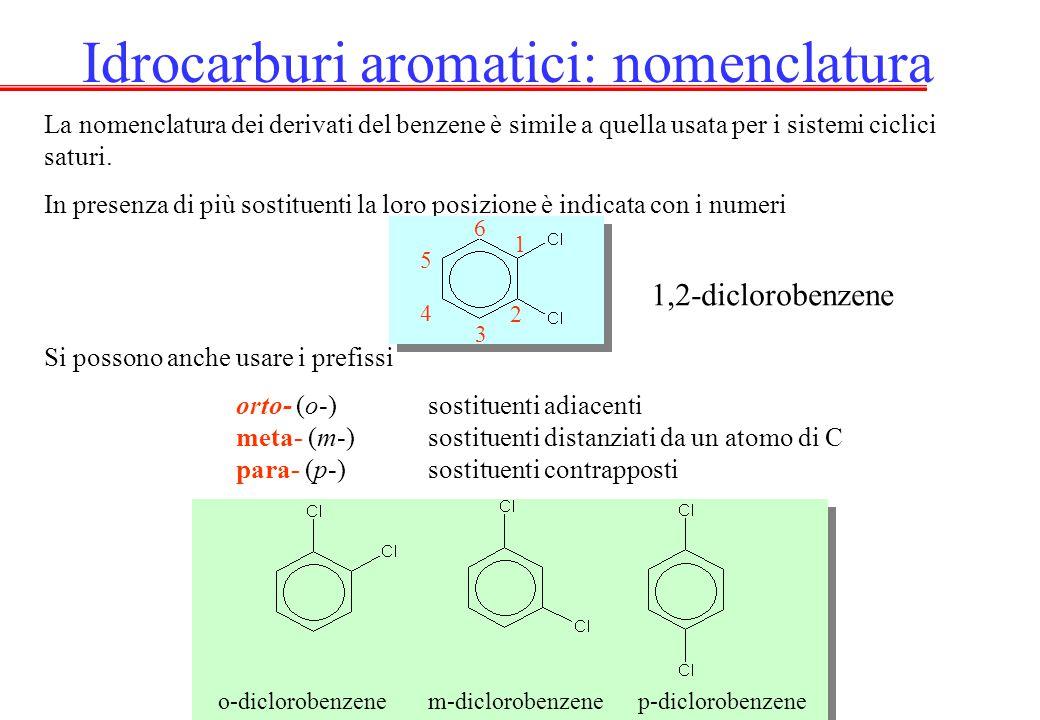 La nomenclatura dei derivati del benzene è simile a quella usata per i sistemi ciclici saturi. In presenza di più sostituenti la loro posizione è indi