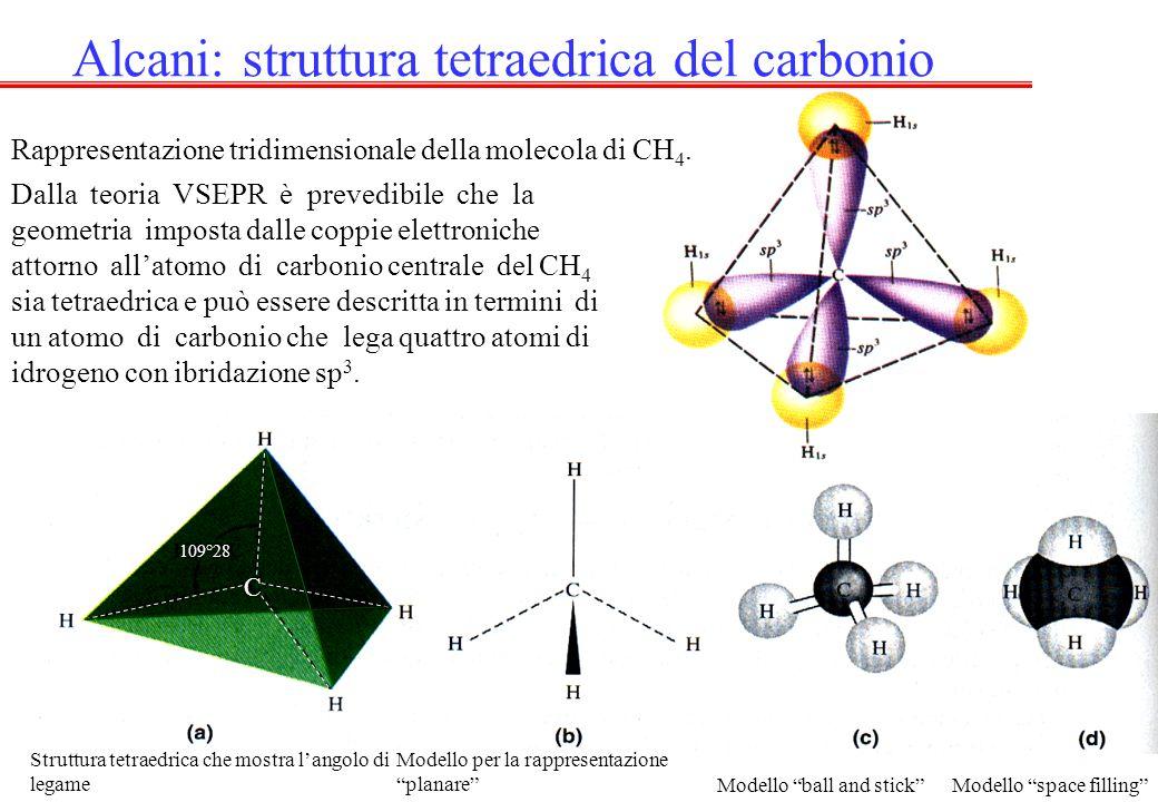 C 109°28 Alcani: struttura tetraedrica del carbonio Rappresentazione tridimensionale della molecola di CH 4. Dalla teoria VSEPR è prevedibile che la g