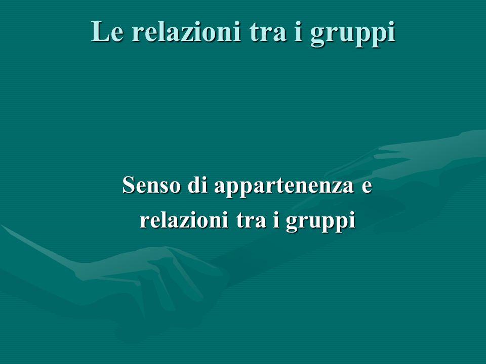 Le relazioni tra i gruppi Senso di appartenenza e relazioni tra i gruppi