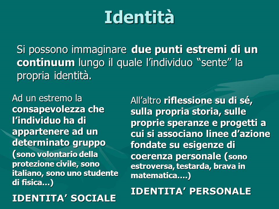 """Identità Si possono immaginare due punti estremi di un continuum lungo il quale l'individuo """"sente"""" la propria identità. Ad un estremo la consapevolez"""