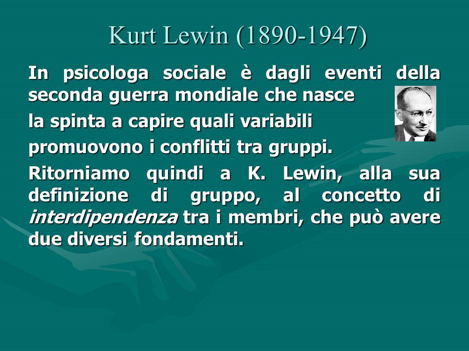 Kurt Lewin (1890-1947) Kurt Lewin (1890-1947) In psicologa sociale è dagli eventi della seconda guerra mondiale che nasce la spinta a capire quali variabili promuovono i conflitti tra gruppi.