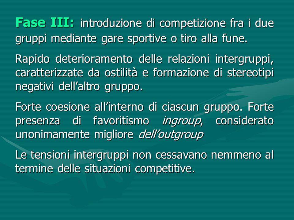 Fase III: introduzione di competizione fra i due gruppi mediante gare sportive o tiro alla fune. Rapido deterioramento delle relazioni intergruppi, ca