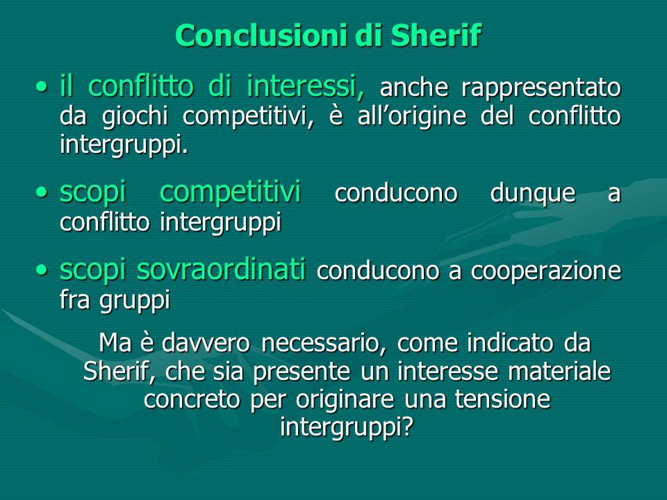 Conclusioni di Sherif il conflitto di interessi, anche rappresentato da giochi competitivi, è all'origine del conflitto intergruppi.il conflitto di interessi, anche rappresentato da giochi competitivi, è all'origine del conflitto intergruppi.