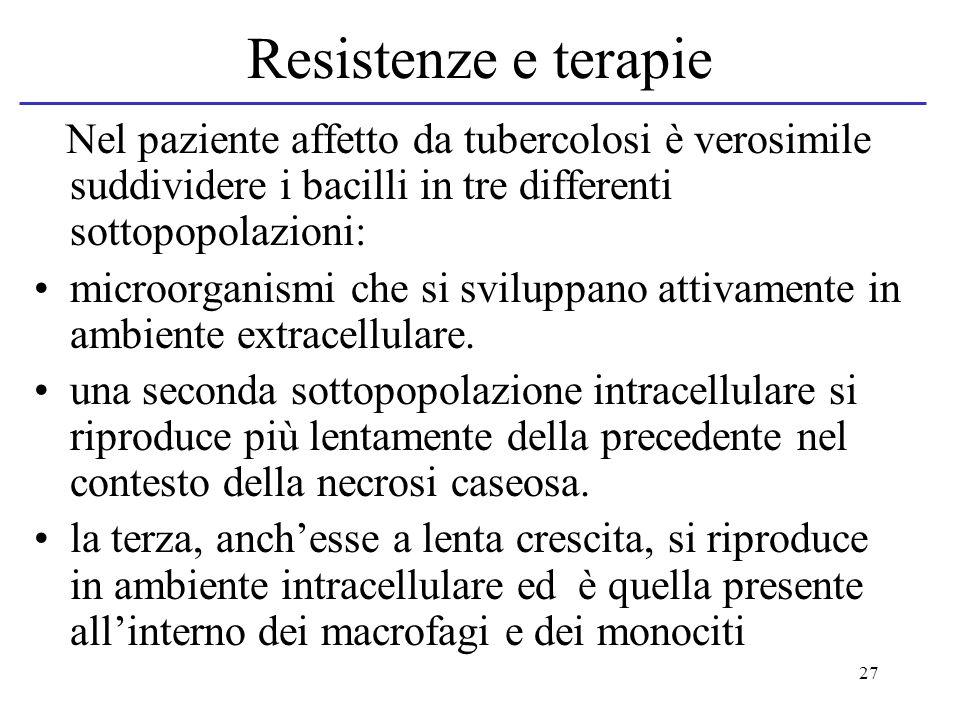 27 Resistenze e terapie Nel paziente affetto da tubercolosi è verosimile suddividere i bacilli in tre differenti sottopopolazioni: microorganismi che