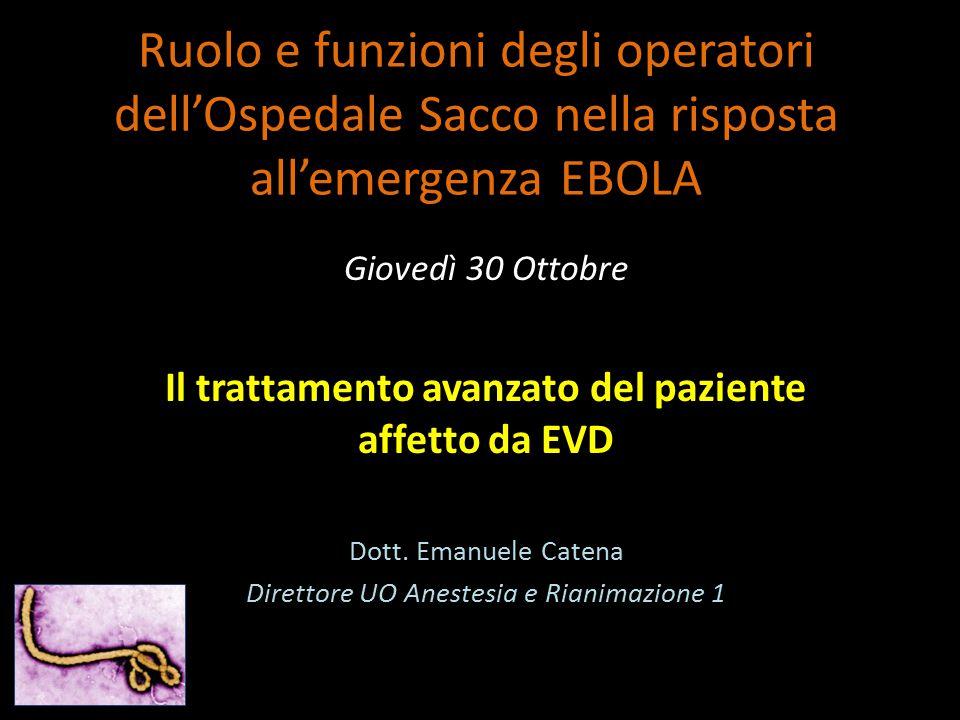 Ruolo e funzioni degli operatori dell'Ospedale Sacco nella risposta all'emergenza EBOLA Giovedì 30 Ottobre Il trattamento avanzato del paziente affett