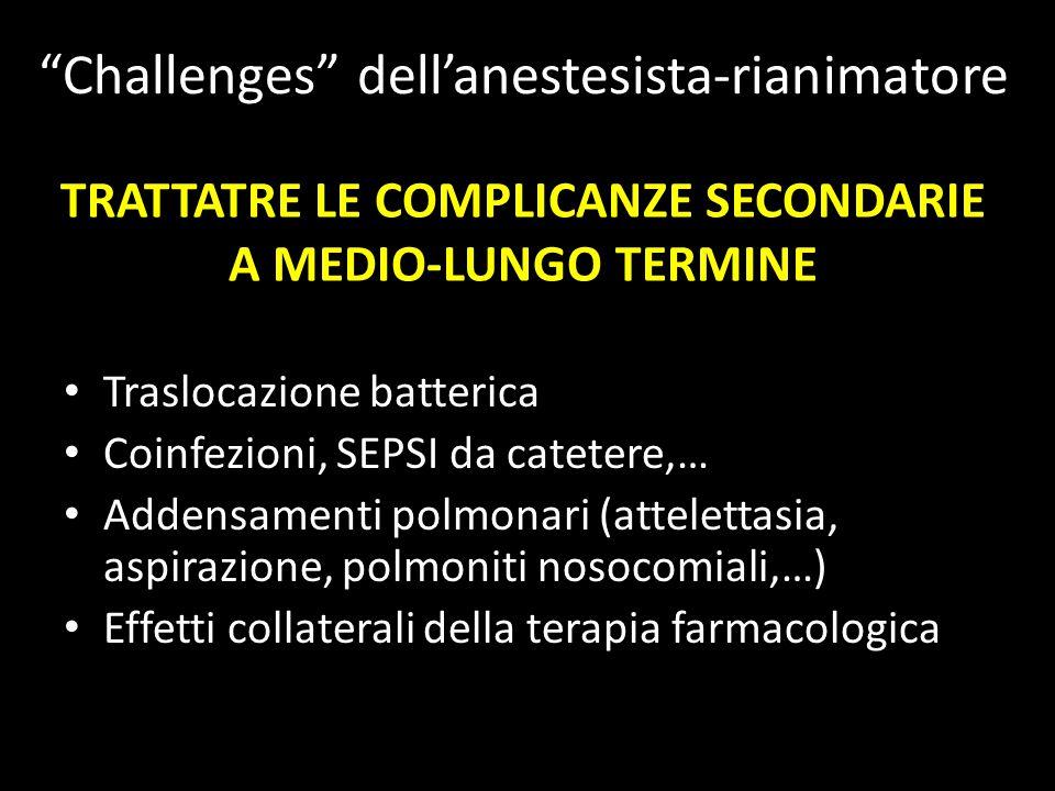 TRATTATRE LE COMPLICANZE SECONDARIE A MEDIO-LUNGO TERMINE Traslocazione batterica Coinfezioni, SEPSI da catetere,… Addensamenti polmonari (attelettasi