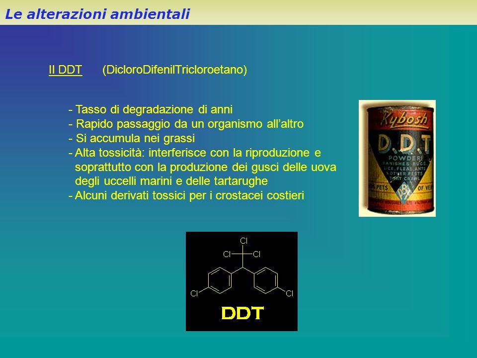 Il DDT (DicloroDifenilTricloroetano) - Tasso di degradazione di anni - Rapido passaggio da un organismo all'altro - Si accumula nei grassi - Alta toss