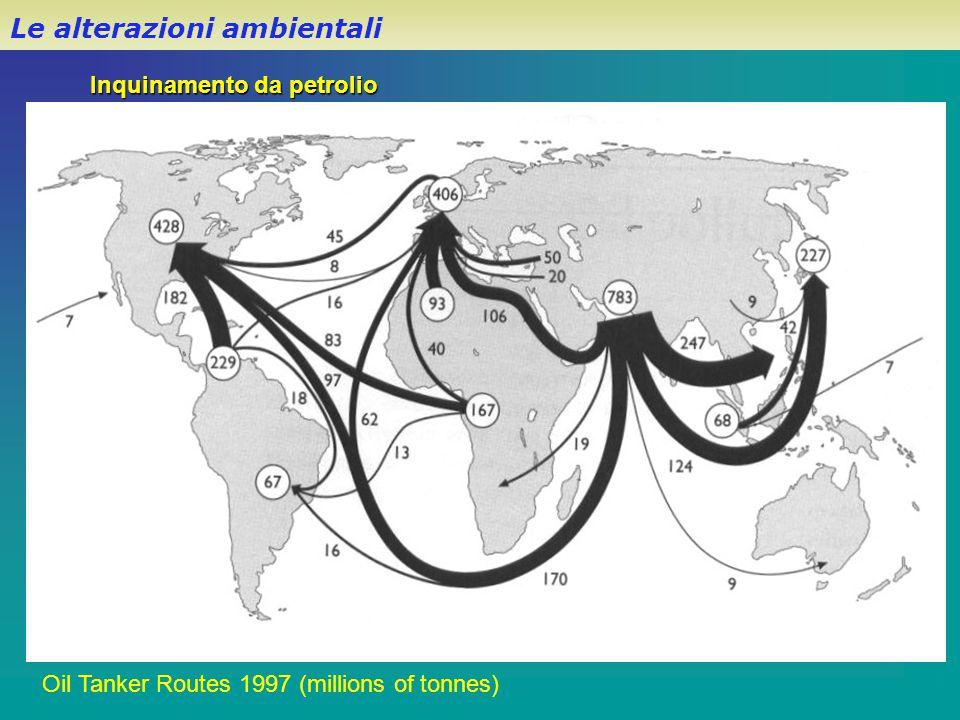 Oil Tanker Routes 1997 (millions of tonnes) Inquinamento da petrolio Le alterazioni ambientali
