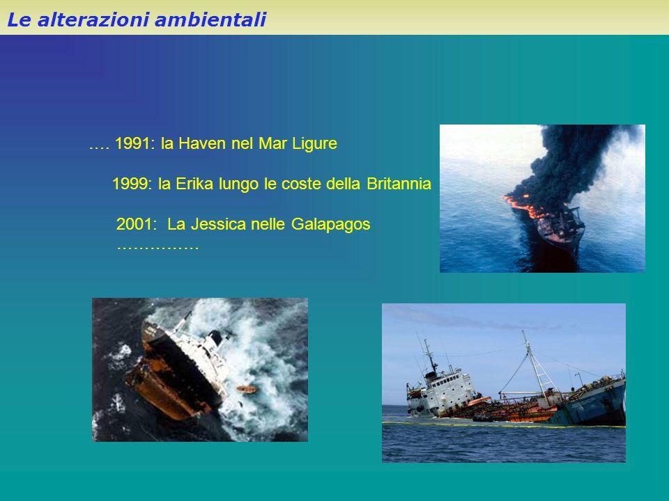 …. 1991: la Haven nel Mar Ligure 1999: la Erika lungo le coste della Britannia 2001: La Jessica nelle Galapagos …………… Le alterazioni ambientali