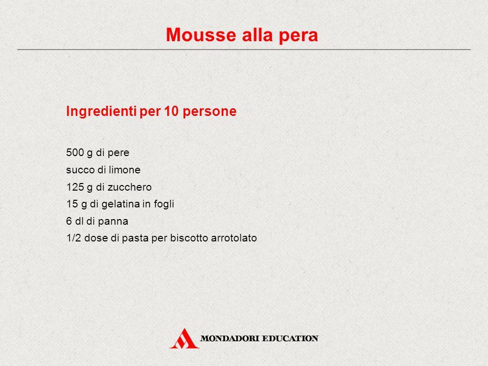 Ingredienti per 10 persone 500 g di pere succo di limone 125 g di zucchero 15 g di gelatina in fogli 6 dl di panna 1/2 dose di pasta per biscotto arrotolato Mousse alla pera