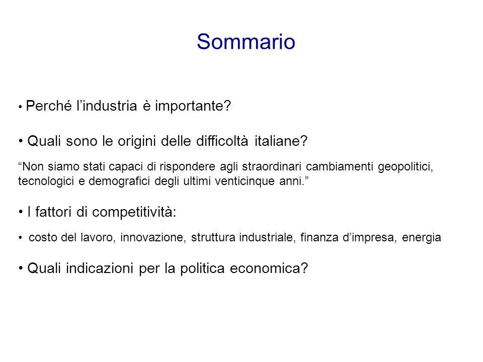 Sommario Perché l'industria è importante.Quali sono le origini delle difficoltà italiane.