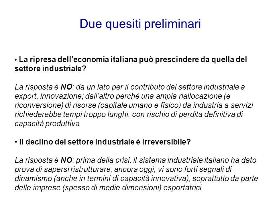 Due quesiti preliminari La ripresa dell'economia italiana può prescindere da quella del settore industriale? La risposta è NO: da un lato per il contr