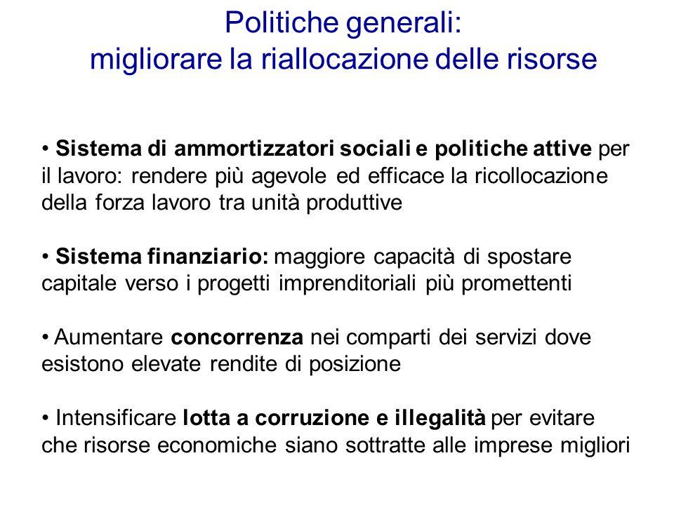 Politiche generali: migliorare la riallocazione delle risorse Sistema di ammortizzatori sociali e politiche attive per il lavoro: rendere più agevole