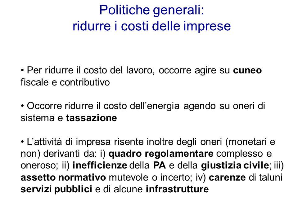 Politiche generali: ridurre i costi delle imprese Per ridurre il costo del lavoro, occorre agire su cuneo fiscale e contributivo Occorre ridurre il co