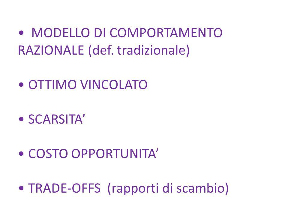 MODELLO DI COMPORTAMENTO RAZIONALE (def.