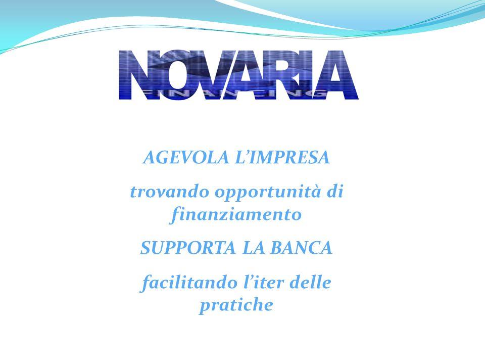 AGEVOLA L'IMPRESA trovando opportunità di finanziamento SUPPORTA LA BANCA facilitando l'iter delle pratiche