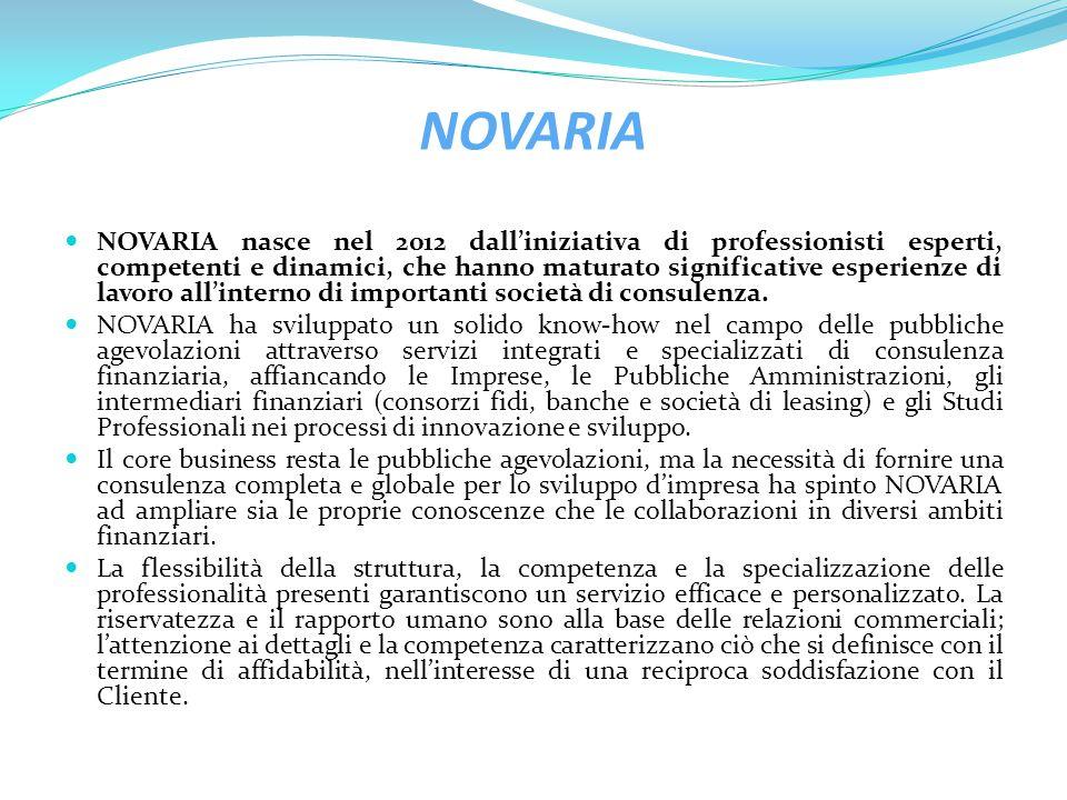 La missione di NOVARIA Favorire l accesso alle fonti di finanziamento delle Micro, Piccole e Medie imprese (PMI) dell' industria, del commercio, dei servizi e del turismo Fornire supporto al sistema bancario nell'offerta di agevolazioni pubbliche a favore della clientela.