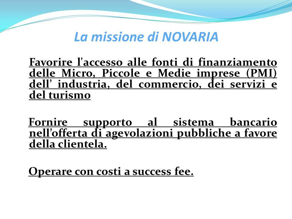 La missione di NOVARIA Favorire l'accesso alle fonti di finanziamento delle Micro, Piccole e Medie imprese (PMI) dell' industria, del commercio, dei s