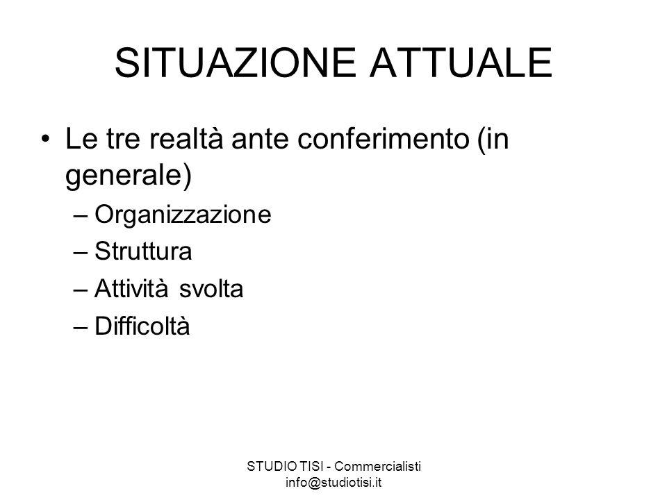 STUDIO TISI - Commercialisti info@studiotisi.it SITUAZIONE ATTUALE Le tre realtà ante conferimento (in generale) –Organizzazione –Struttura –Attività svolta –Difficoltà