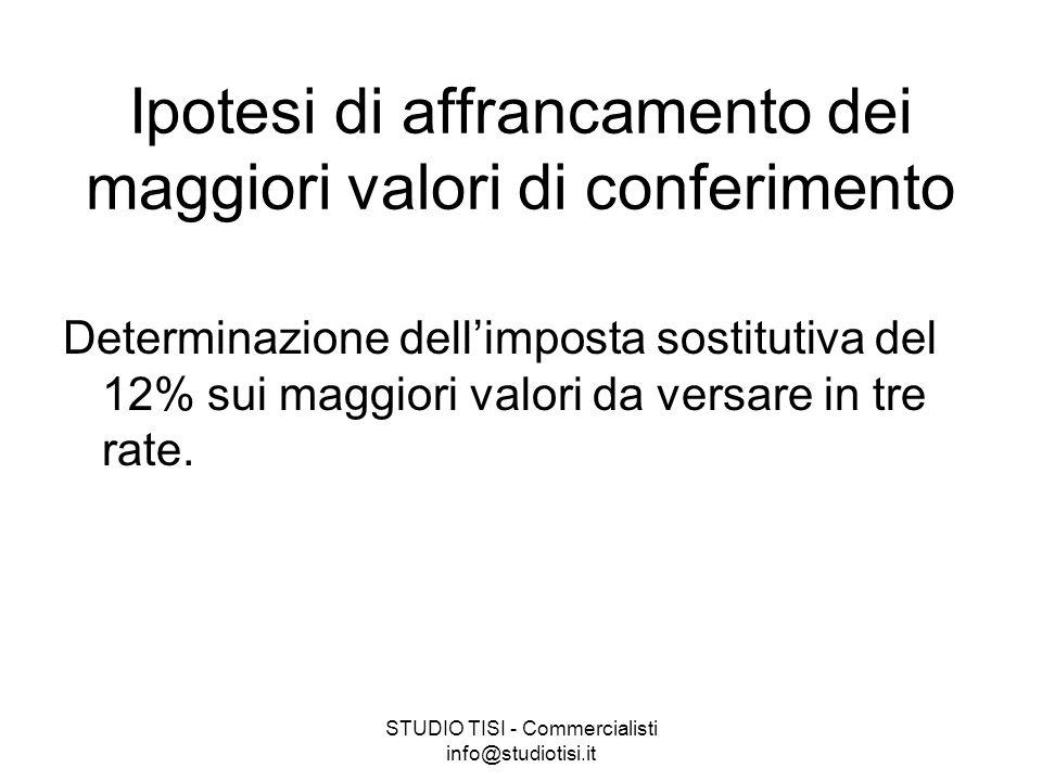 STUDIO TISI - Commercialisti info@studiotisi.it Ipotesi di affrancamento dei maggiori valori di conferimento Determinazione dell'imposta sostitutiva del 12% sui maggiori valori da versare in tre rate.