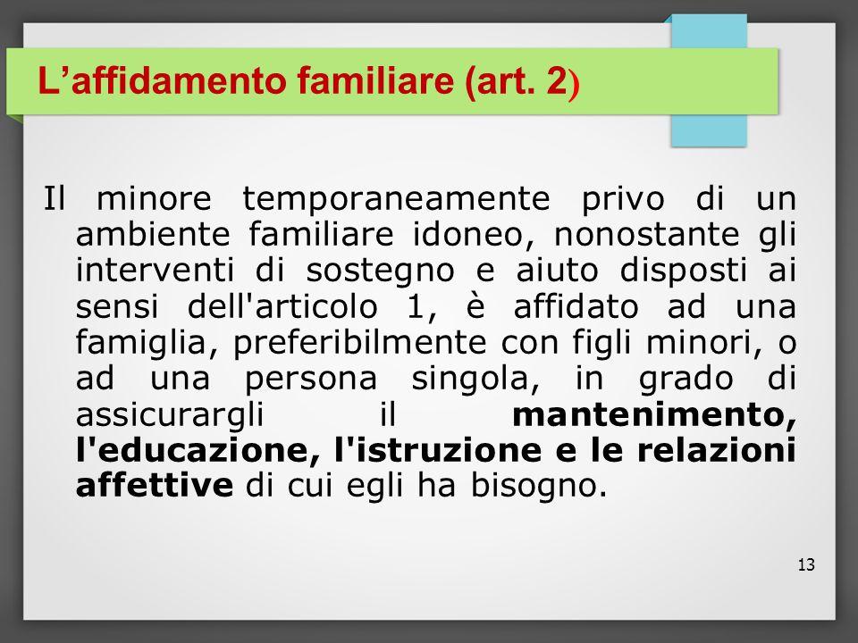 13 L'affidamento familiare (art. 2 ) Il minore temporaneamente privo di un ambiente familiare idoneo, nonostante gli interventi di sostegno e aiuto di