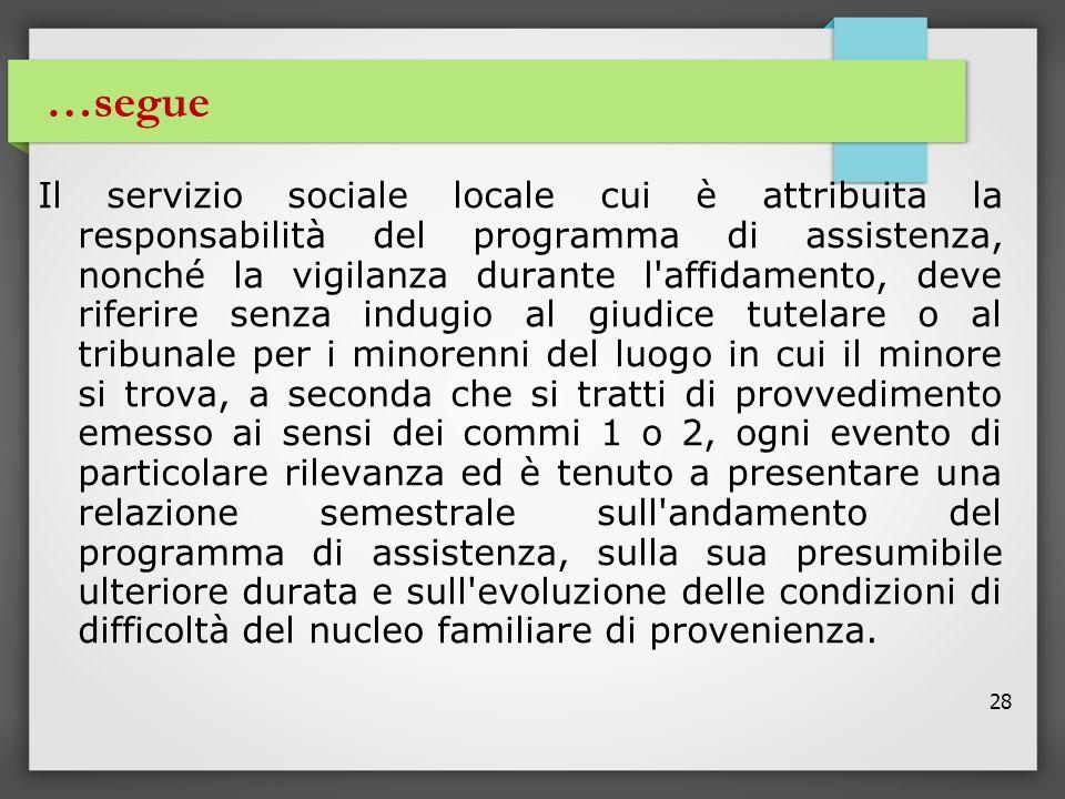 28 …segue Il servizio sociale locale cui è attribuita la responsabilità del programma di assistenza, nonché la vigilanza durante l'affidamento, deve r