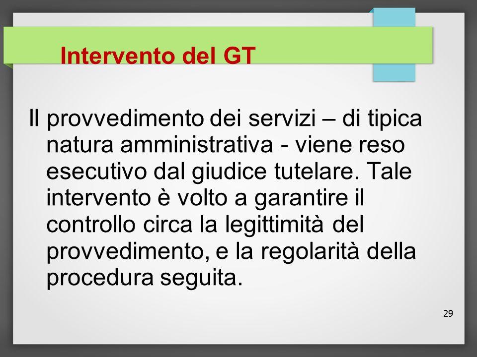 29 Intervento del GT Il provvedimento dei servizi – di tipica natura amministrativa - viene reso esecutivo dal giudice tutelare. Tale intervento è vol