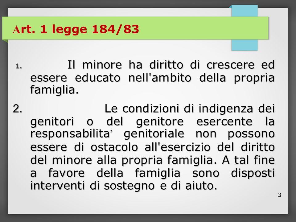 3 A rt. 1 legge 184/83 1. Il minore ha diritto di crescere ed essere educato nell'ambito della propria famiglia. 1. Il minore ha diritto di crescere e