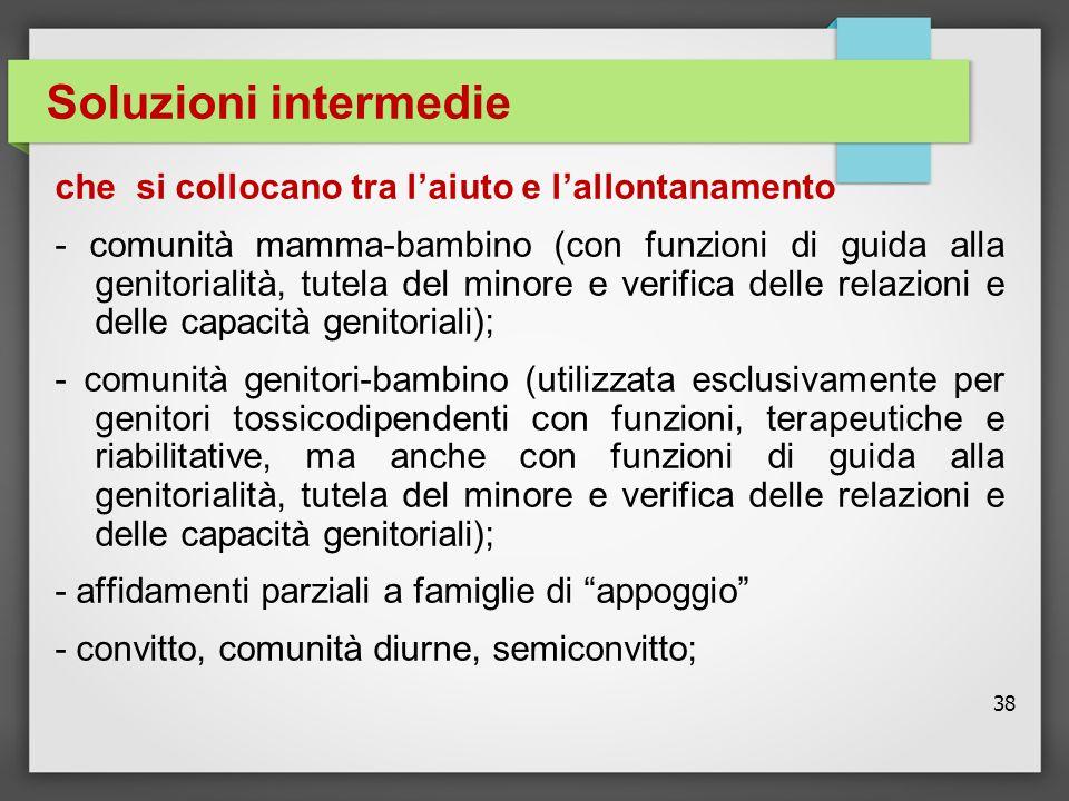 38 Soluzioni intermedie che si collocano tra l'aiuto e l'allontanamento - comunità mamma-bambino (con funzioni di guida alla genitorialità, tutela del