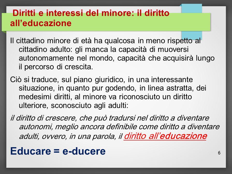 6 Diritti e interessi del minore: il diritto all'educazione Il cittadino minore di età ha qualcosa in meno rispetto al cittadino adulto: gli manca la