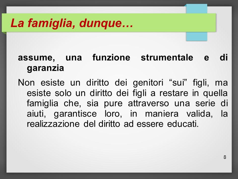 """8 La famiglia, dunque… assume, una funzione strumentale e di garanzia Non esiste un diritto dei genitori """"sui"""" figli, ma esiste solo un diritto dei fi"""