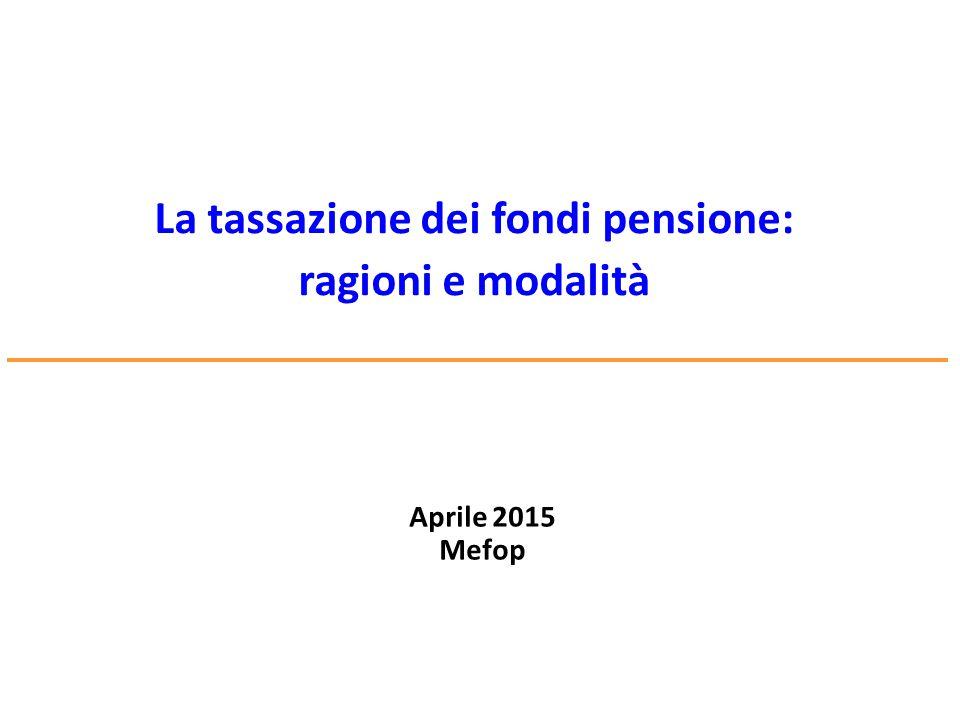 www.mefop.it La tassazione dei fondi pensione: ragioni e modalità Aprile 2015 Mefop