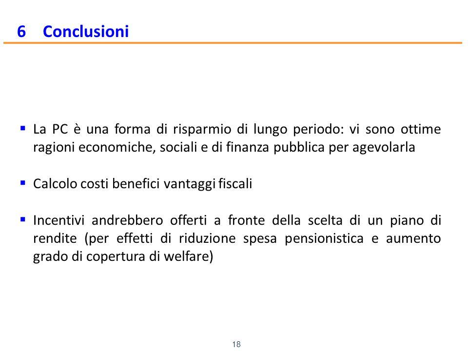 www.mefop.it 18 6 Conclusioni  La PC è una forma di risparmio di lungo periodo: vi sono ottime ragioni economiche, sociali e di finanza pubblica per agevolarla  Calcolo costi benefici vantaggi fiscali  Incentivi andrebbero offerti a fronte della scelta di un piano di rendite (per effetti di riduzione spesa pensionistica e aumento grado di copertura di welfare)