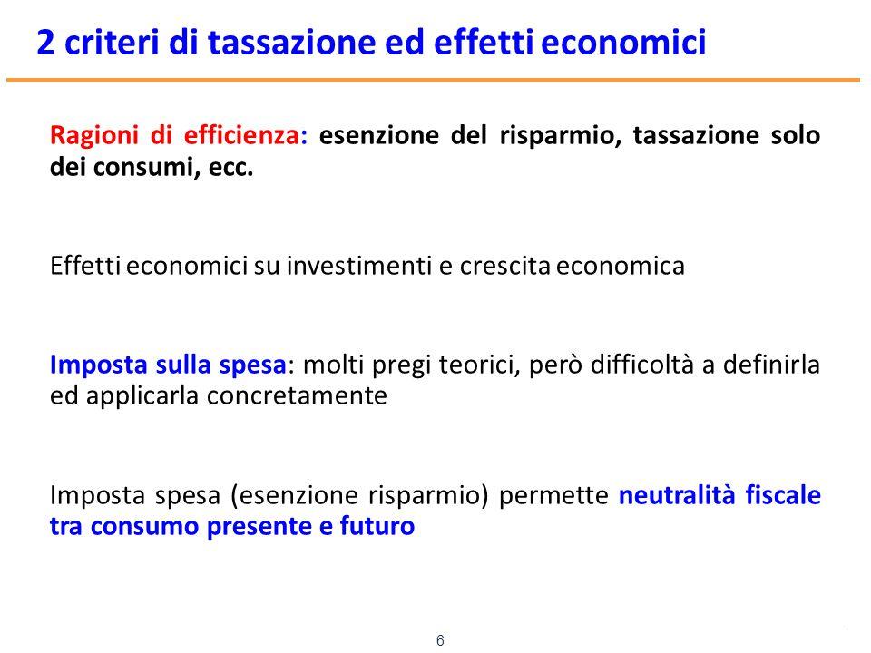 www.mefop.it 6 2 criteri di tassazione ed effetti economici Ragioni di efficienza: esenzione del risparmio, tassazione solo dei consumi, ecc. Effetti