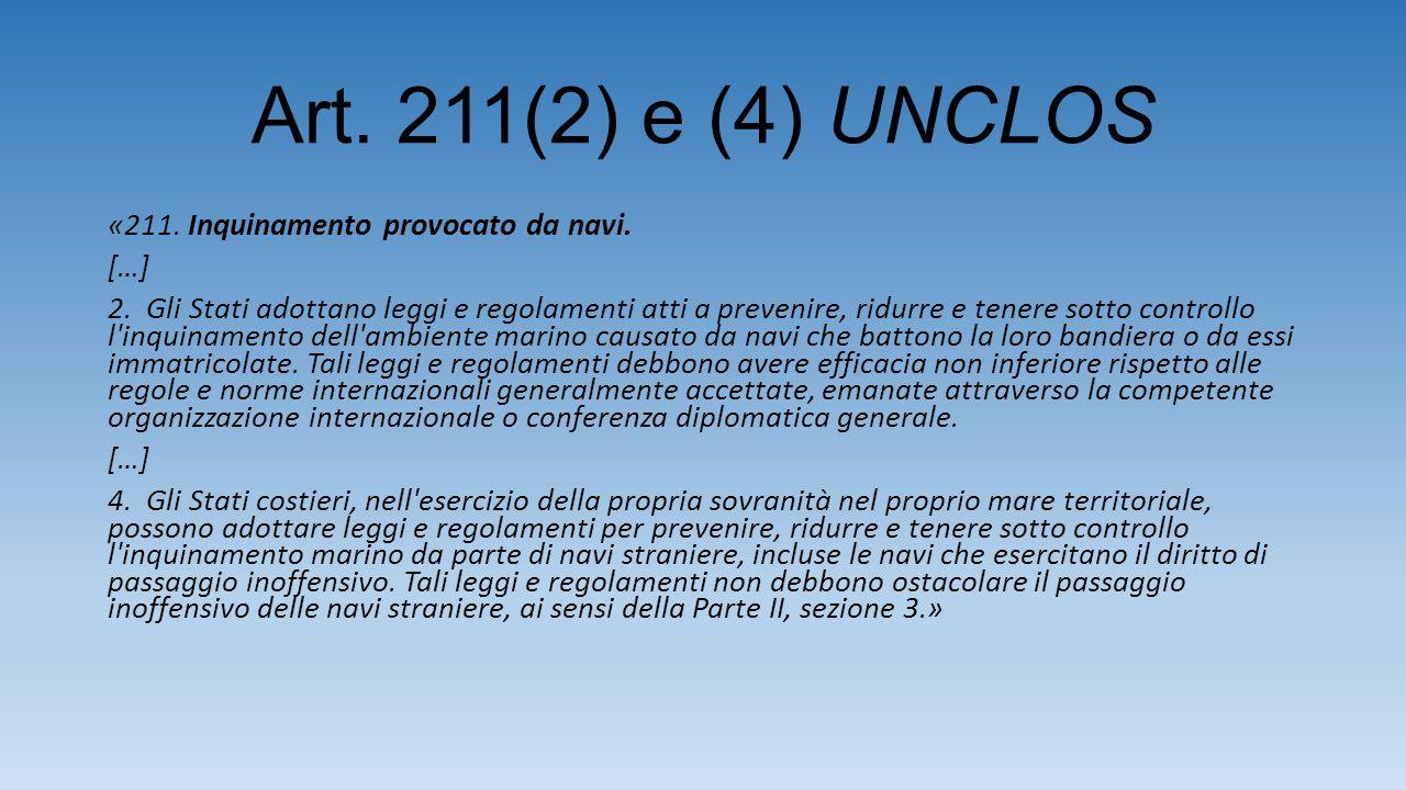 Art. 211(2) e (4) UNCLOS «211. Inquinamento provocato da navi.