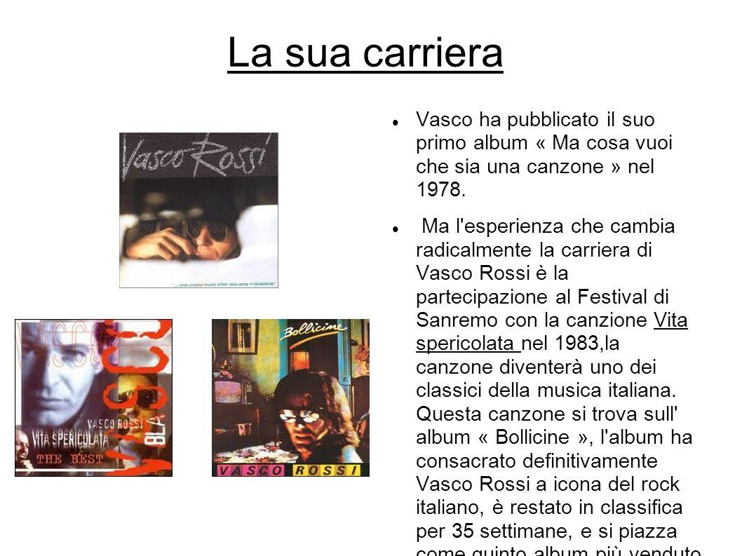 La sua carriera Vasco ha pubblicato il suo primo album « Ma cosa vuoi che sia una canzone » nel 1978.