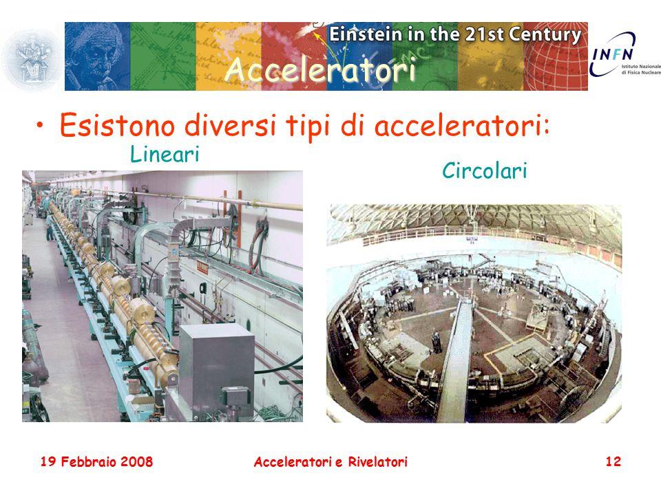 19 Febbraio 2008Acceleratori e Rivelatori12 Acceleratori Esistono diversi tipi di acceleratori: Lineari Circolari