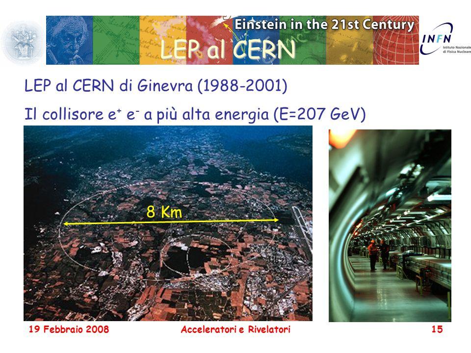 19 Febbraio 2008Acceleratori e Rivelatori15 LEP al CERN LEP al CERN di Ginevra (1988-2001) Il collisore e + e - a più alta energia (E=207 GeV) 8 Km