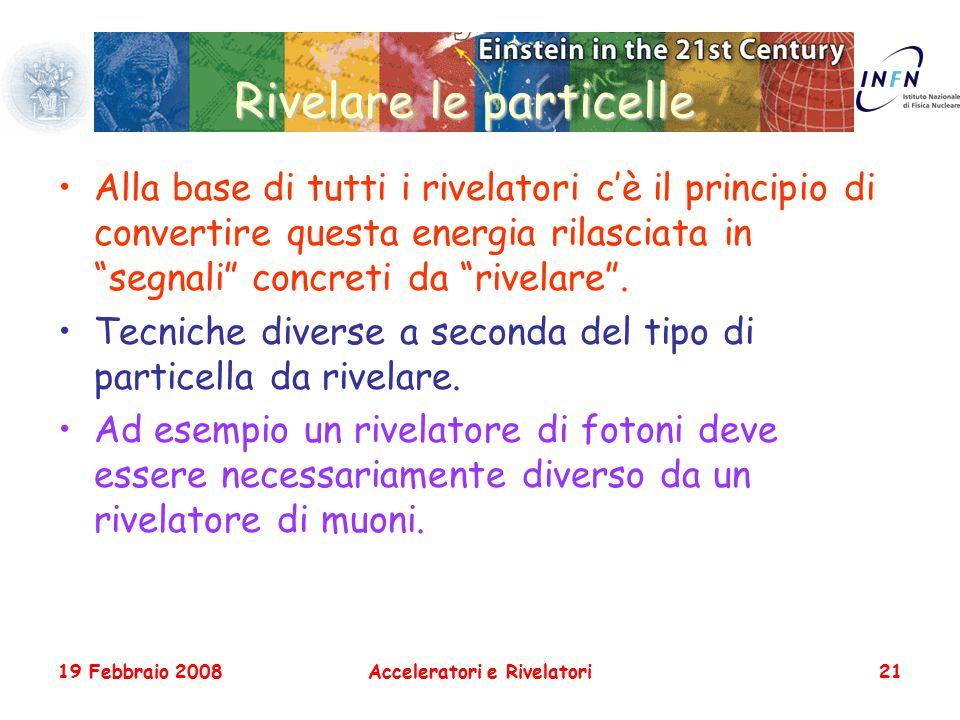 19 Febbraio 2008Acceleratori e Rivelatori21 Rivelare le particelle Alla base di tutti i rivelatori c'è il principio di convertire questa energia rilas