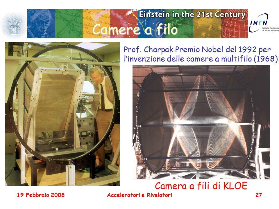 19 Febbraio 2008Acceleratori e Rivelatori27 Camere a filo Prof. Charpak Premio Nobel del 1992 per l'invenzione delle camere a multifilo (1968) Camera
