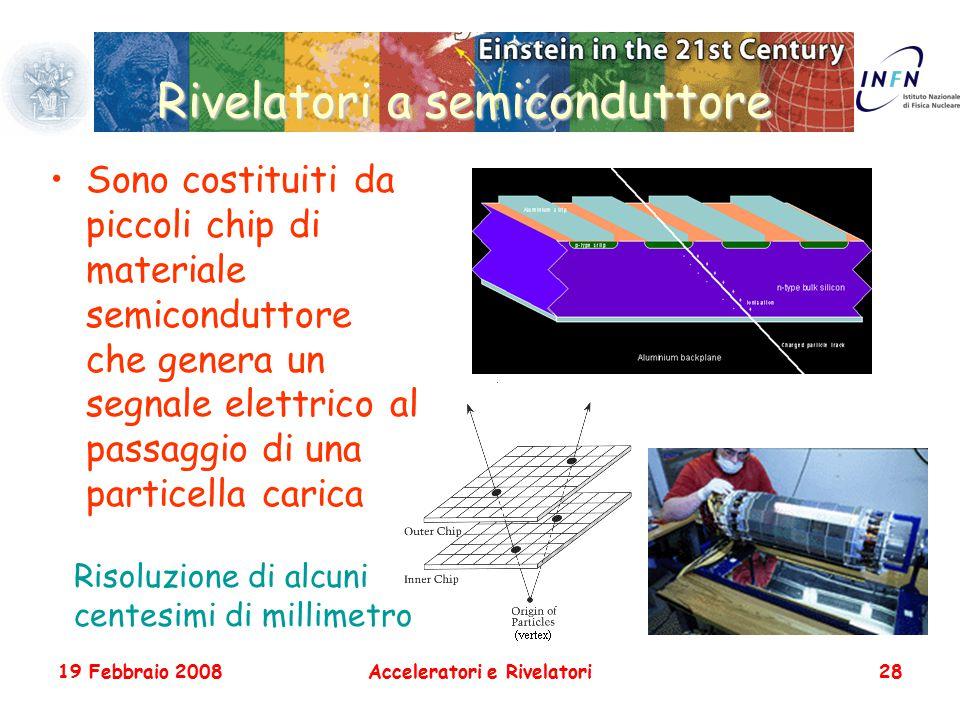 19 Febbraio 2008Acceleratori e Rivelatori28 Rivelatori a semiconduttore Sono costituiti da piccoli chip di materiale semiconduttore che genera un segn